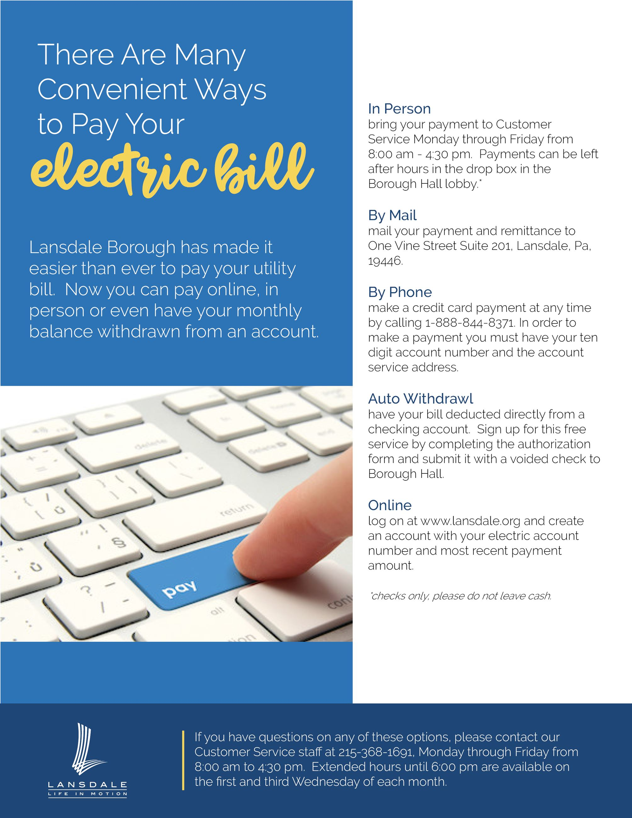 Ways to Pay Electric Bill